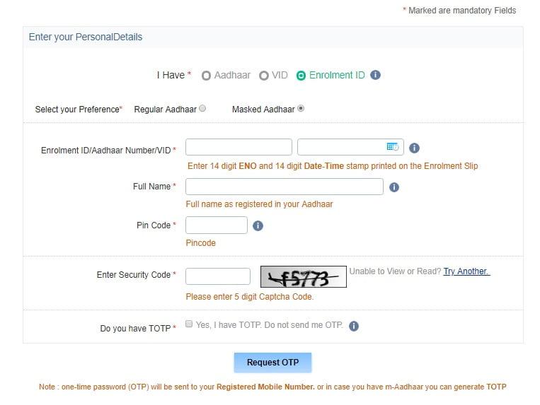 Aadhaar Download Process