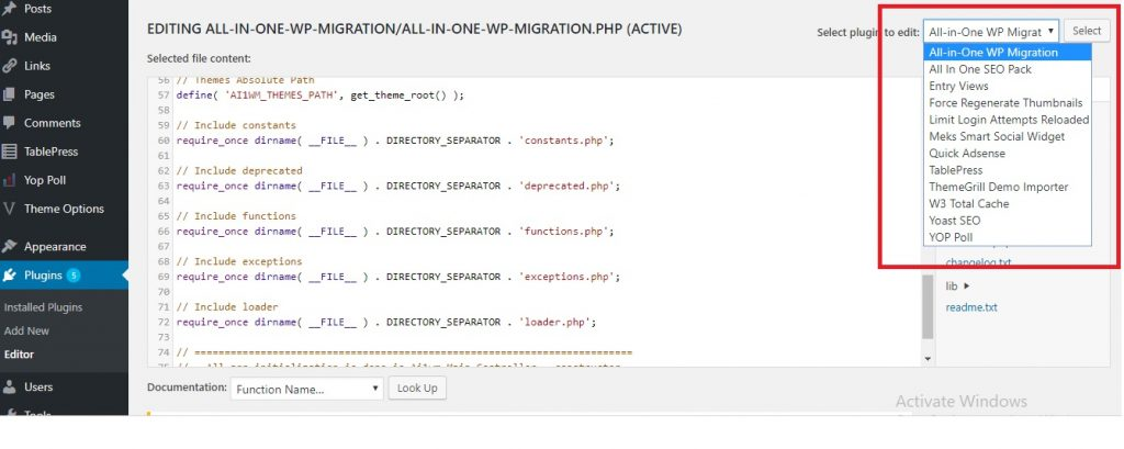 all in one migration Plugin Editor