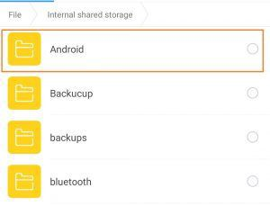 internal storage select Android folder